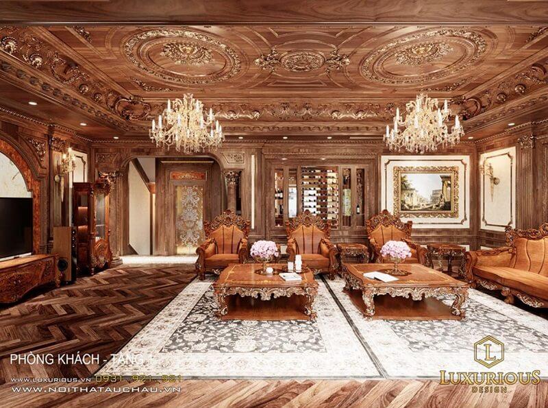 mẫu thiết kế nội bật biệt thự đẹp phong cách cổ điển