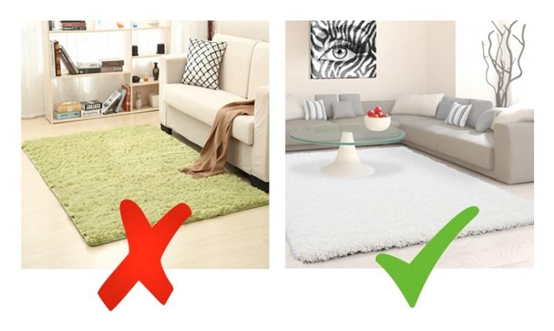 Sử dụng thảm cùng tông màu với sàn nhà