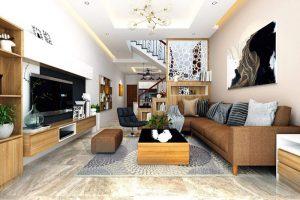 Phòng khách phong cách hiện đại nhà ống 4m