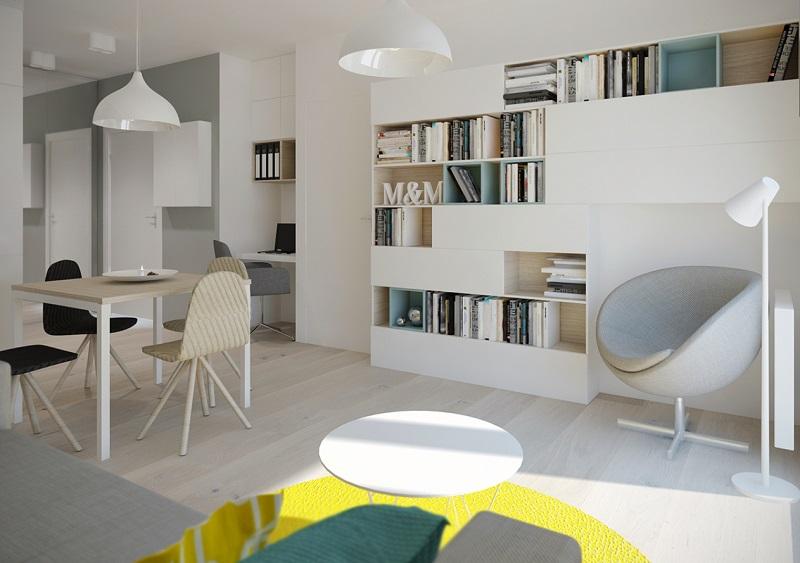 Thiết kế kệ đựng đồ chung cư 40m2
