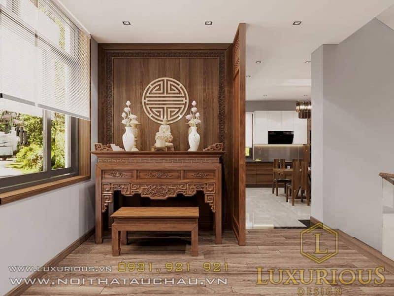 Thiết kế nội thất phòng thờ nhà ống