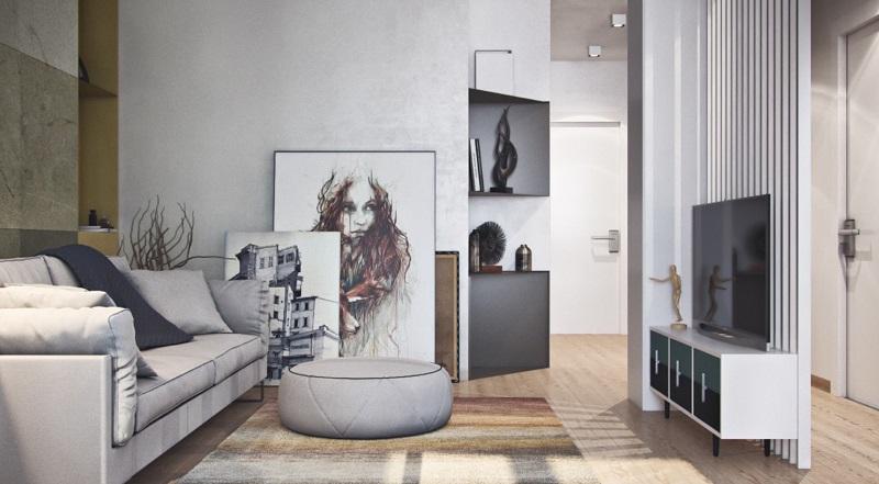 Thiết kế phòng khách chung cư 45m2