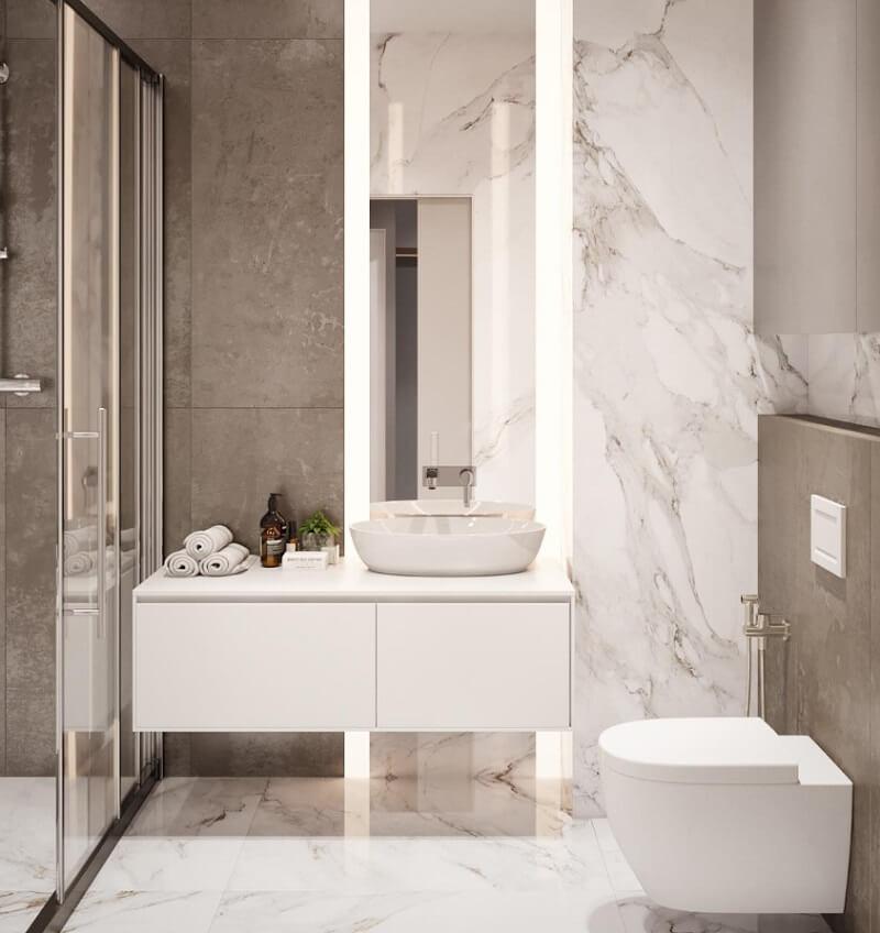 Thiết kế phòng tắm chung cư 50m2