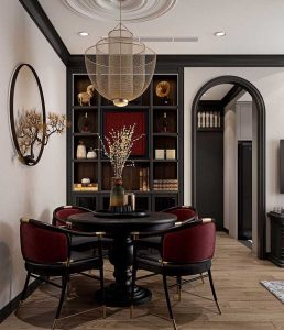 Mẫu bàn ăn phong cách indochine