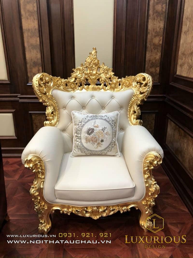 Ghế sofa đơn tân cổ điển dát vàng sang trọng