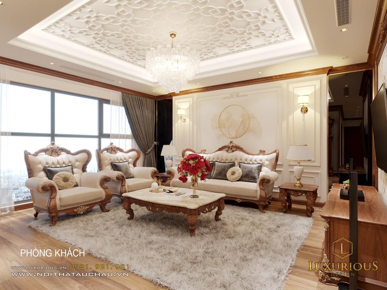 Mẫu thiết kế phòng khách tân cổ điển