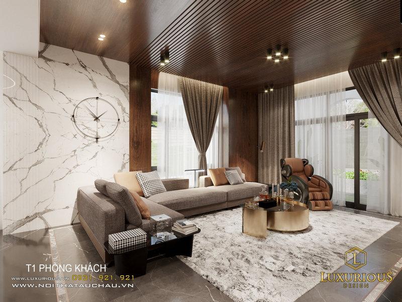 thiết kế nội thất phòng khách biệt thự Ngọc Trai