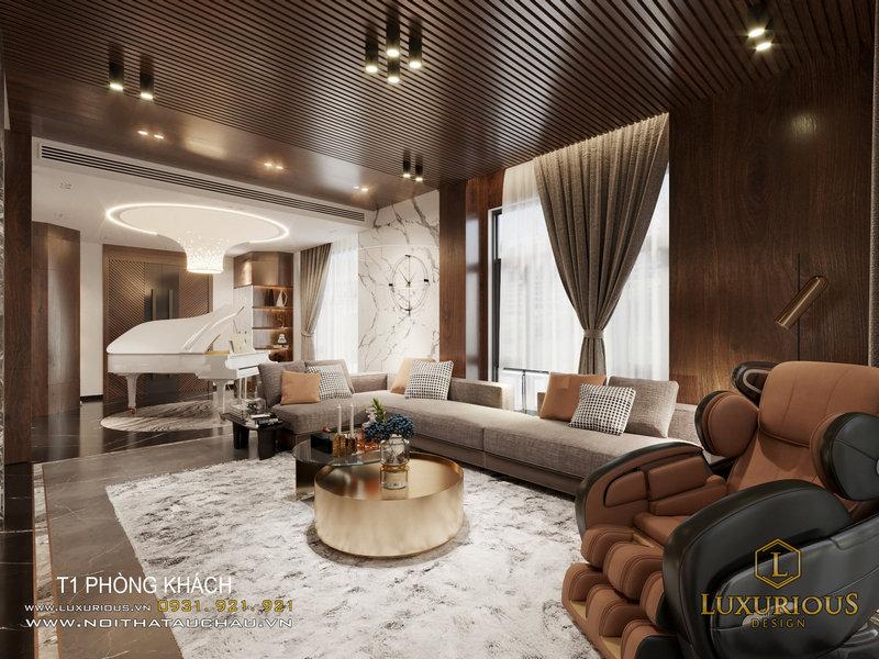 Thiết kế không gian phòng khách sang trọng trong biệt thự đơn lập