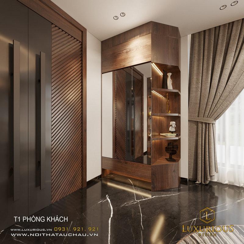 Tủ lưu trữ bằng gỗ tự nhiên cao cấp được đặt đồ trang trí cho phòng khách