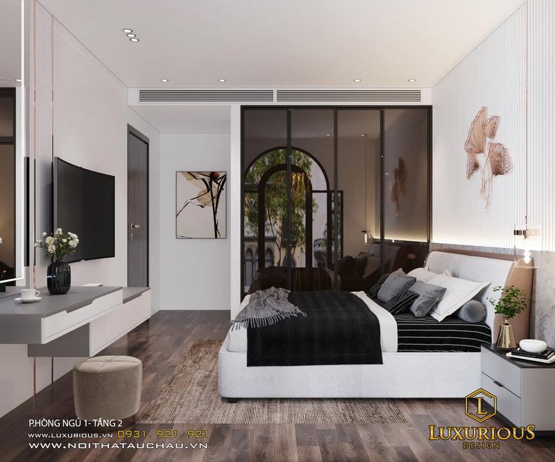 Phòng ngủ sang trọng với tông màu trắng và đen