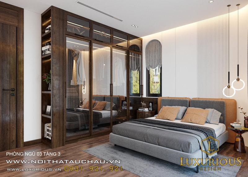 Phòng ngủ này có thiết kế đơn giản nhưng sang trọng