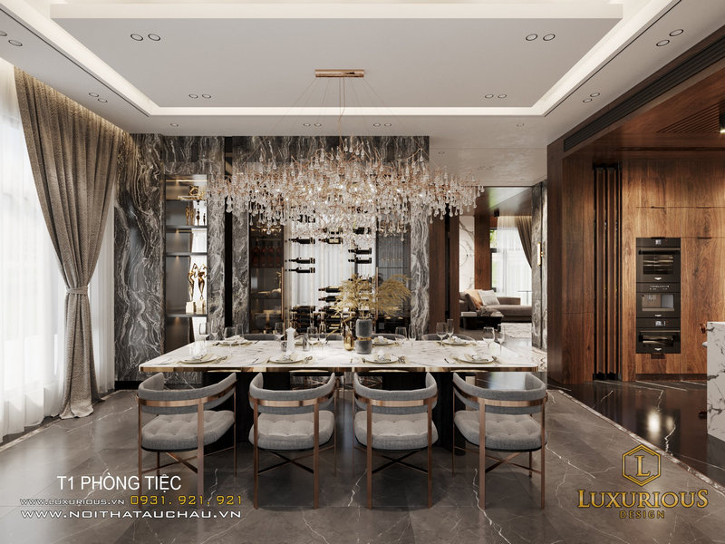 Không gian phòng ăn với thiết kế sang trọng