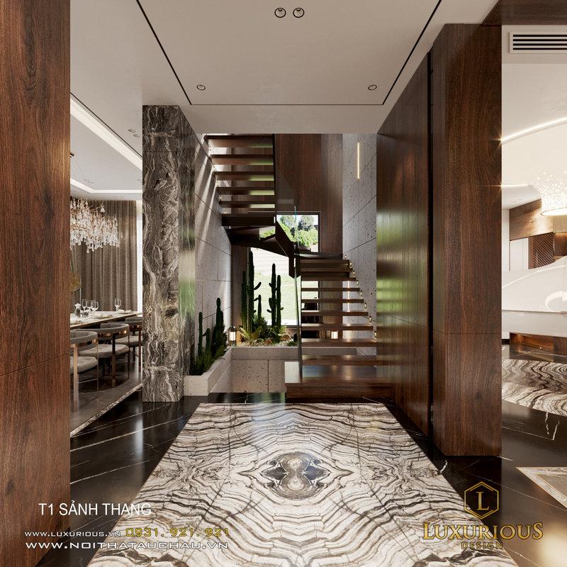 Thiết kế khu vực sảnh cầu thang trong căn biệt thự