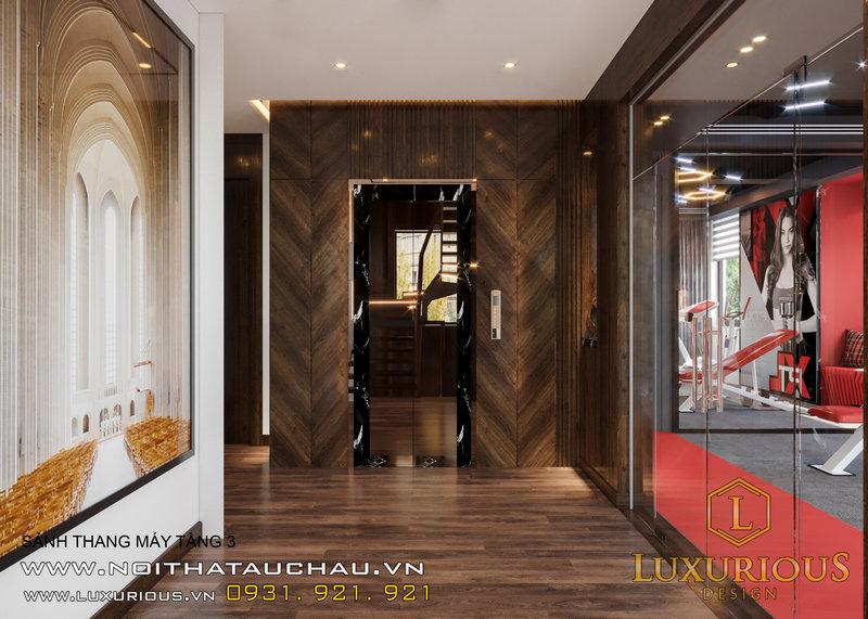 Hàng lang khu vực sảnh thang máy trong căn biệt thự đơn lập