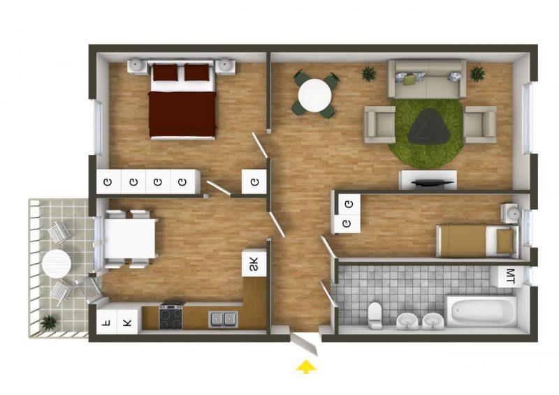 thiết kế nội thất nhà cấp 4 2 phòng ngủ
