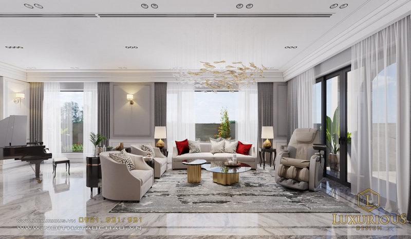 Phòng khách biệt thự đơn lập Ngọc Trai Vinhomes Ocean Park