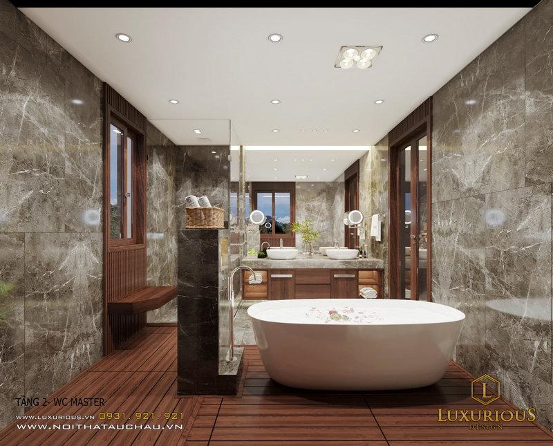 Thiết kế nội thất phòng tắm phong cách hiện đại