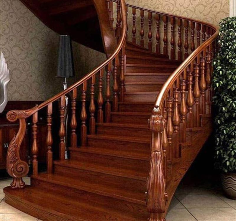 Mẫu lan can cầu thang gỗ