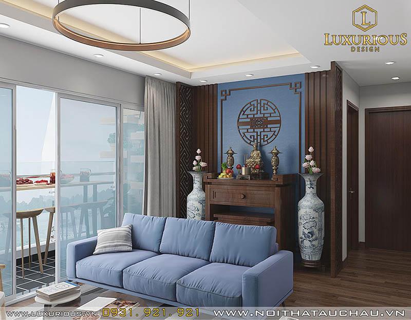 Thiết kế phòng khách kết hợp phòng thờ nhà ống