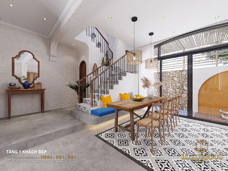 Phòng Ăn Nhẹ Nhàng Đơn Giản Với Lối Kiến Trúc Địa Trung Hải