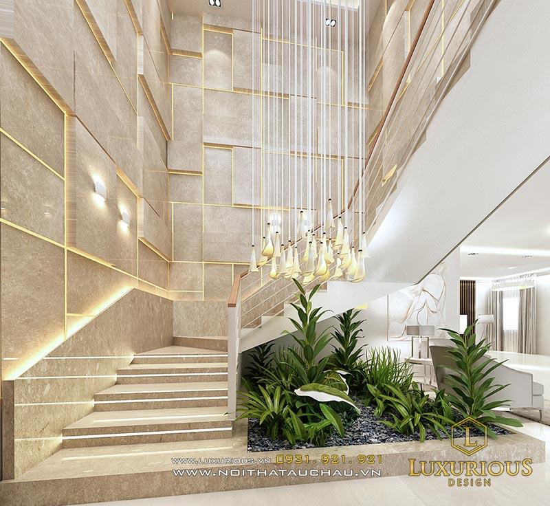Thiết kế cầu thang nhà biệt thự đẹp sang