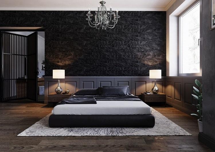phòng ngủ nam màu xám