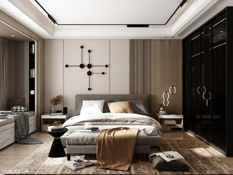 thiết kế phòng ngủ penhouse sang trọng, lịch lãm