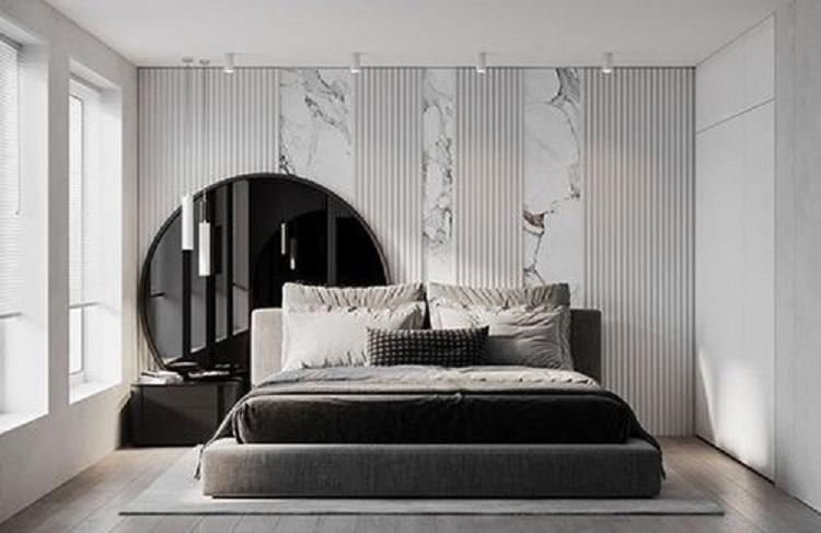 thiết kế phòng ngủ nam tông màu đơn giản