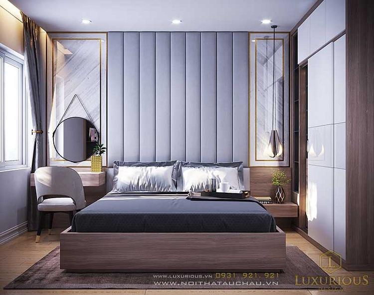 phòng ngủ nam màu xanh sang trọng