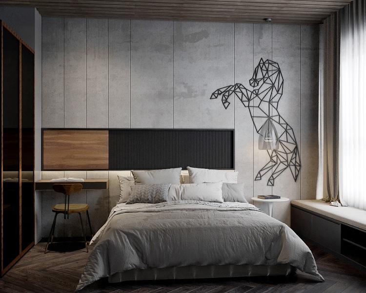 thiết kế phòng ngủ nam phong cách công nghiệp