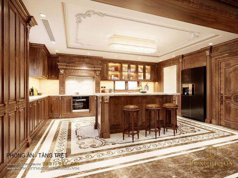 Không gian bếp ấm cúng và sang trọng theo phong cách nội thất cổ điển Việt Nam