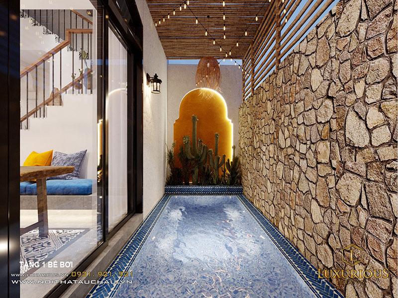 Mẫu nhà vườn có bể bơi trong nhà