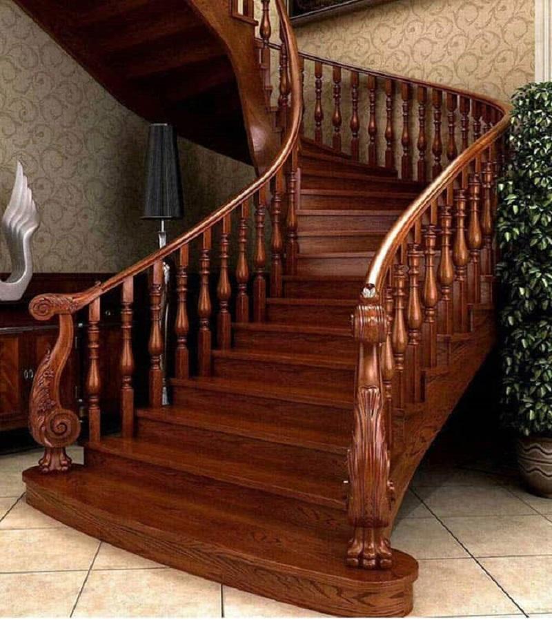 Cầu thang đẹp sang trọng bằng gỗ tự nhiên