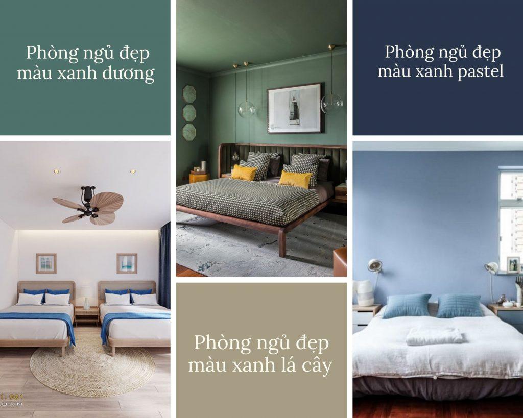 Phòng ngủ đẹp màu xanh