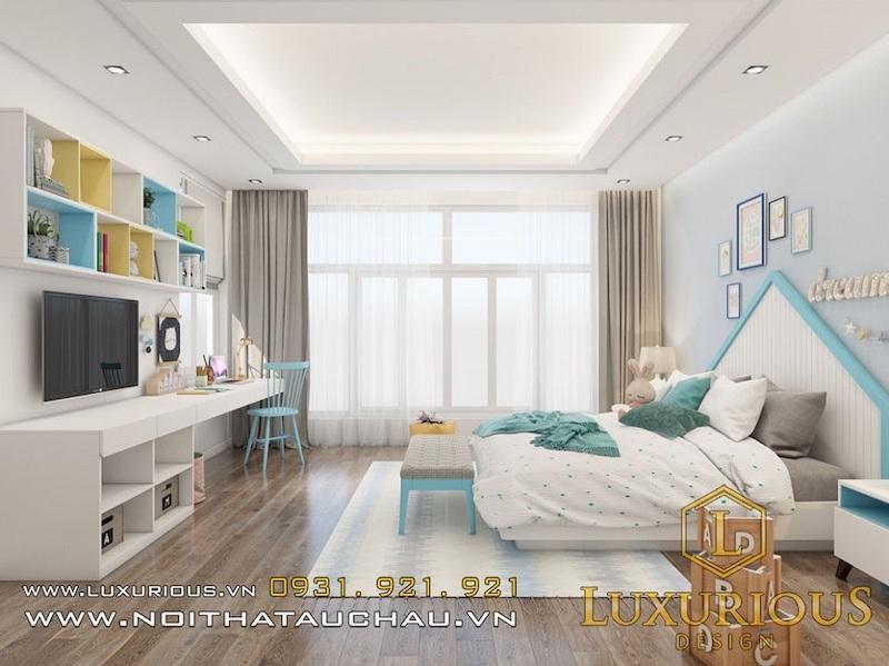 Mẫu phòng ngủ màu xanh cho bé