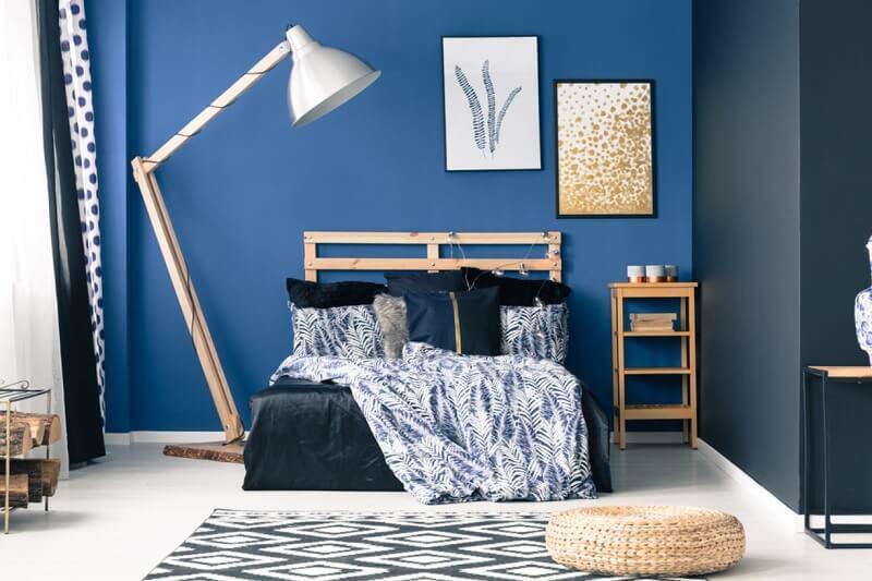 Trang trí phòng ngủ màu xanh dương