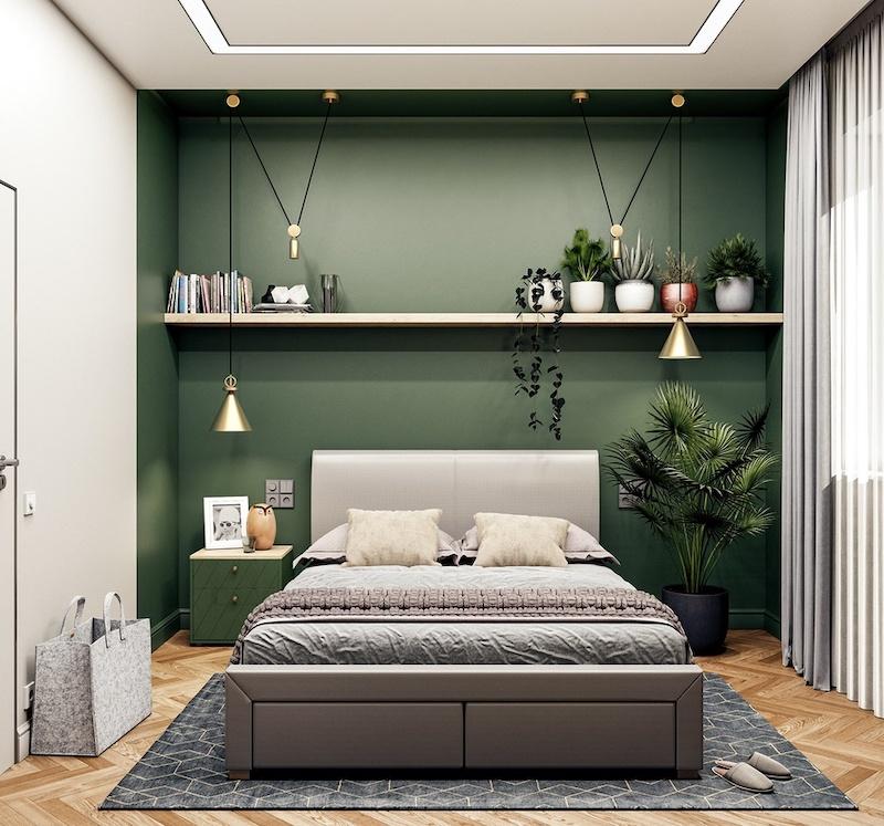 Thiết kế phòng ngủ đẹp màu xanh lá