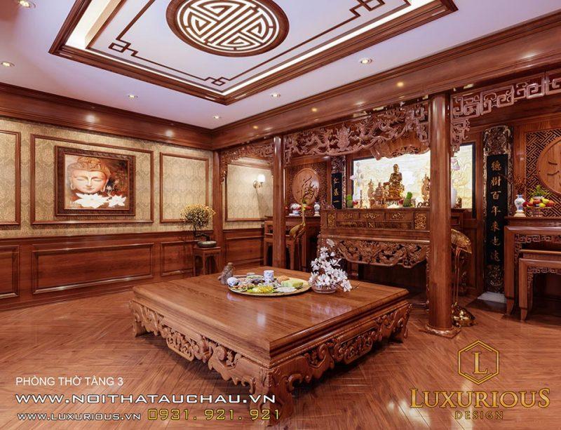 Thiết kế nội thất phòng thờ cổ điển Việt Nam