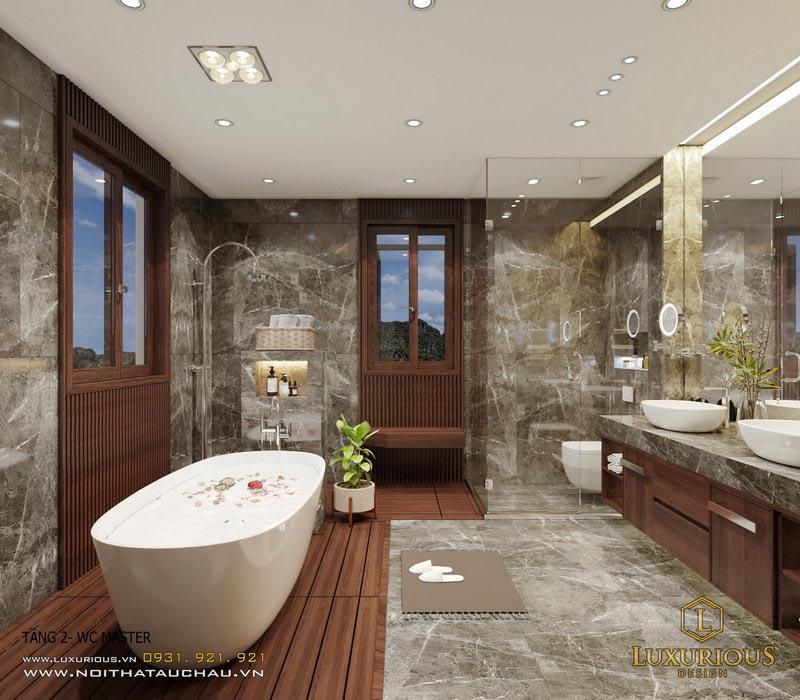 Phòng tắm tân cổ điển có bồn tắm hiện đại