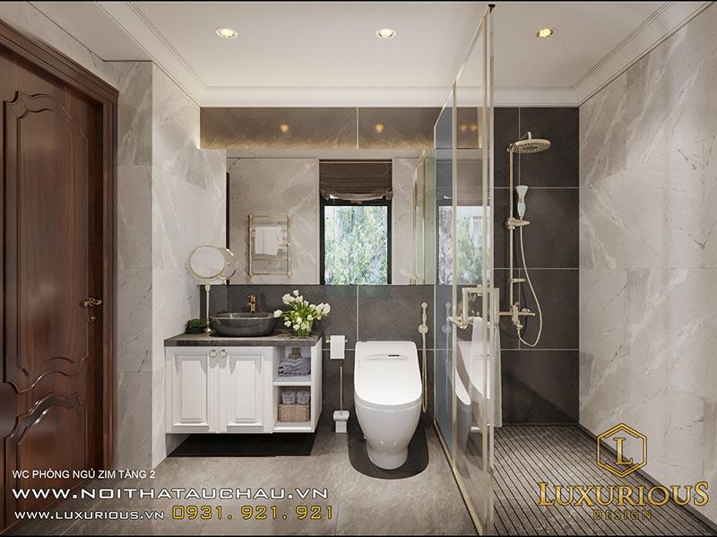 Nhà tắm tân cổ điển sử dụng vách kính