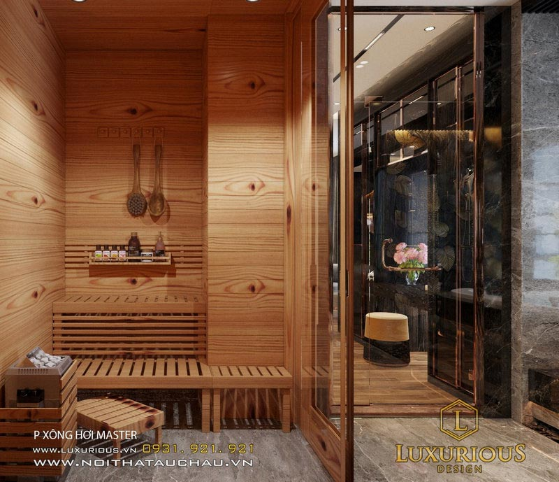 Phòng xông hơi trong thiết kế nhà WC tân cổ điển