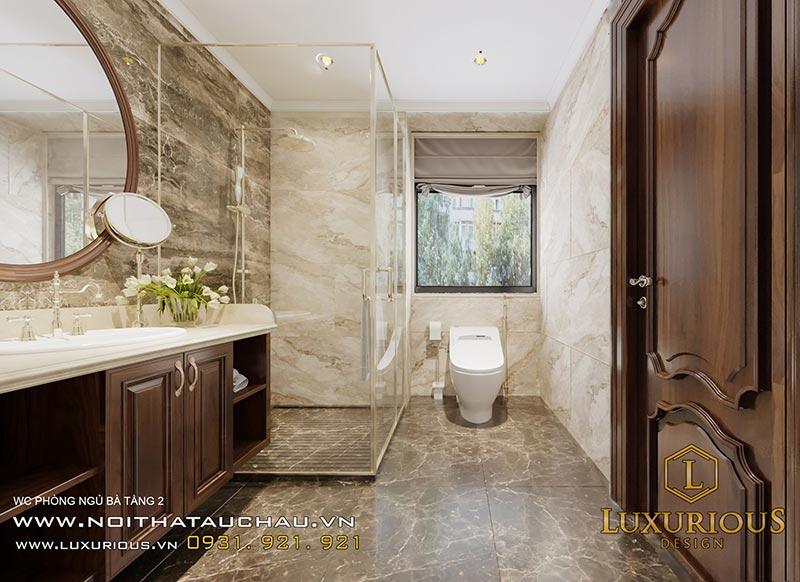 Phòng vệ sinh tân cổ điển có thiết kế vách kính cực kỳ sang trọng