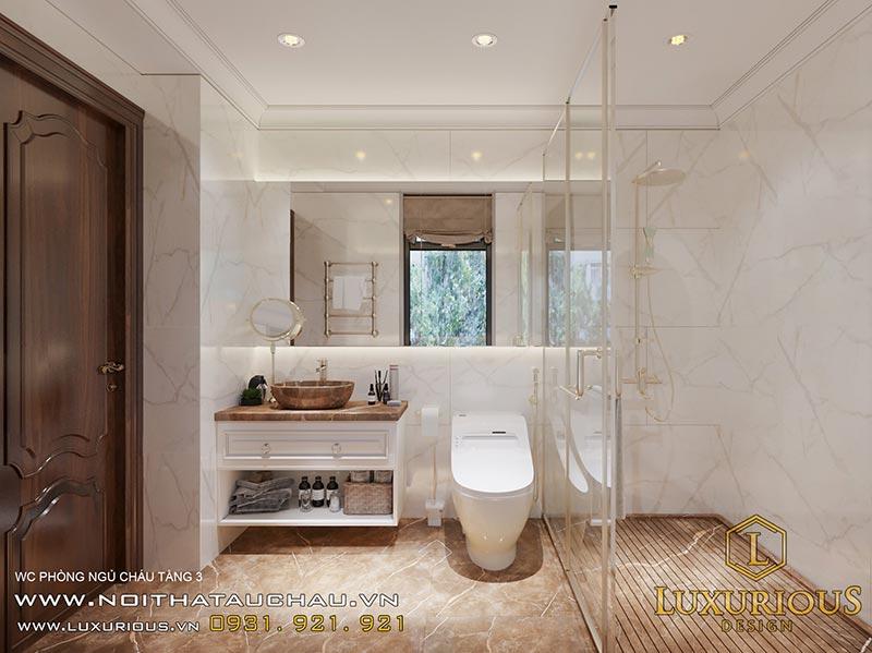 Nhà vệ sinh tân cổ điển sử dụng đá vân trắng