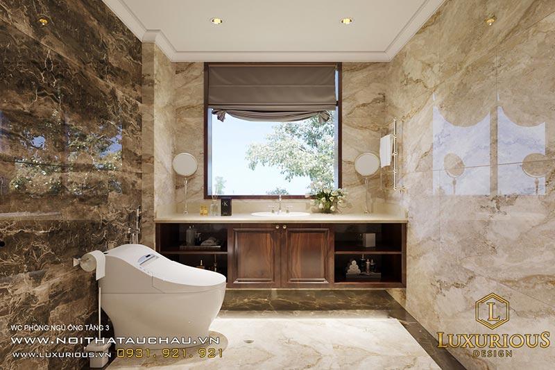 Mẫu nhà vệ sinh sử dụng đá màu trầm