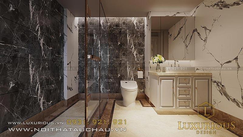 Phòng tắm rộng rãi được ngăn cách bởi vách kính cực kỳ đẹp