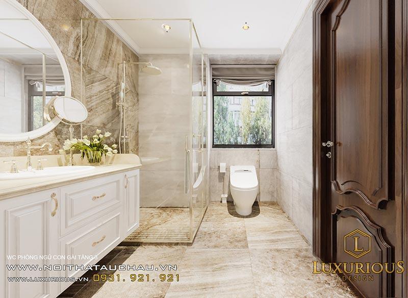 Phòng vệ sinh tân cổ điển kết hợp hợp phòng tắm trong suốt