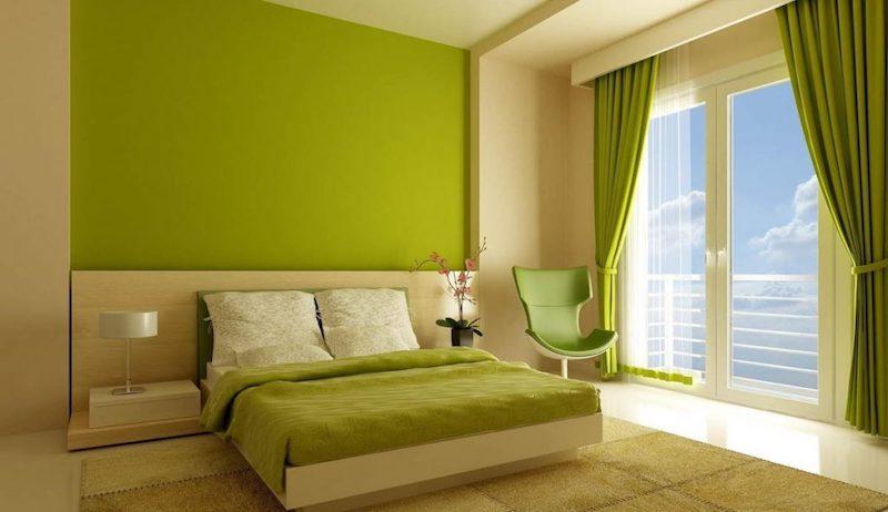 Không gian sử dụng triệt để màu xanh lá mạ để trang trí mang lại nét thu hút mới lạ cho người nhìn