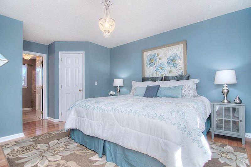 Sơn phòng ngủ màu xanh Pastel