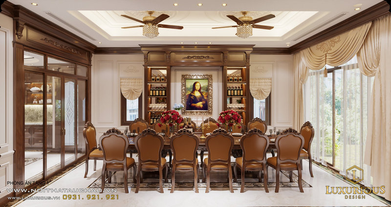 Phòng ăn được thiết kế nội thất cổ điển Việt Nam