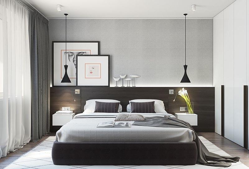 Thiết kế phòng ngủ nữ màu đen xám toát lên sự sang trọng